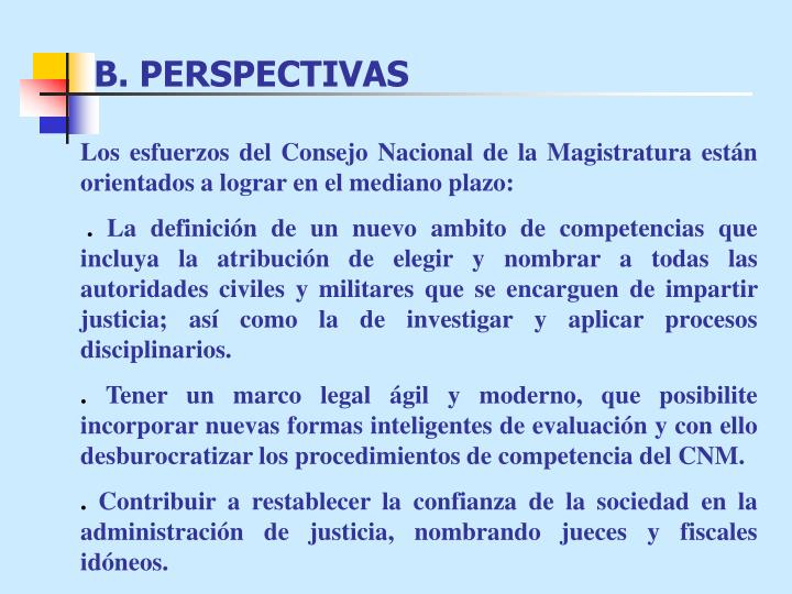 B. PERSPECTIVAS