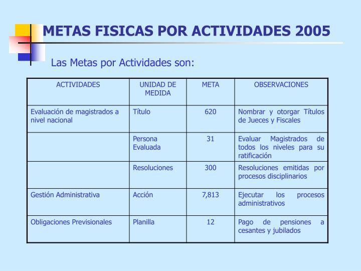 METAS FISICAS POR ACTIVIDADES 2005