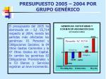 presupuesto 2005 2004 por grupo gen rico