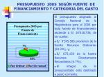 presupuesto 2005 seg n fuente de financiamiento y categoria del gasto