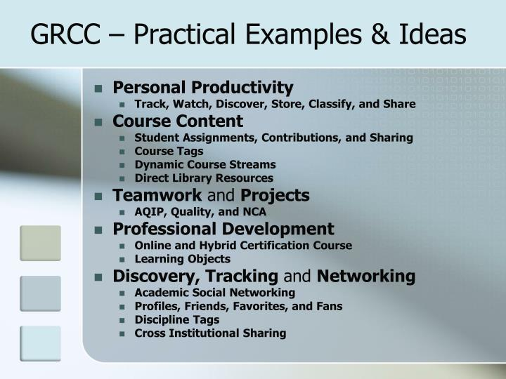 GRCC – Practical Examples & Ideas