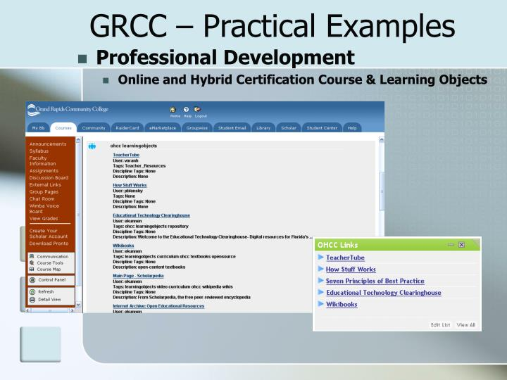 GRCC – Practical Examples