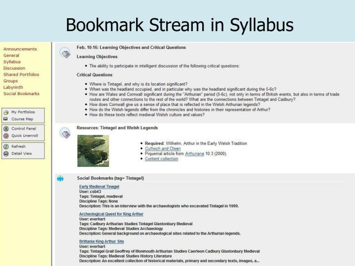 Bookmark Stream in Syllabus