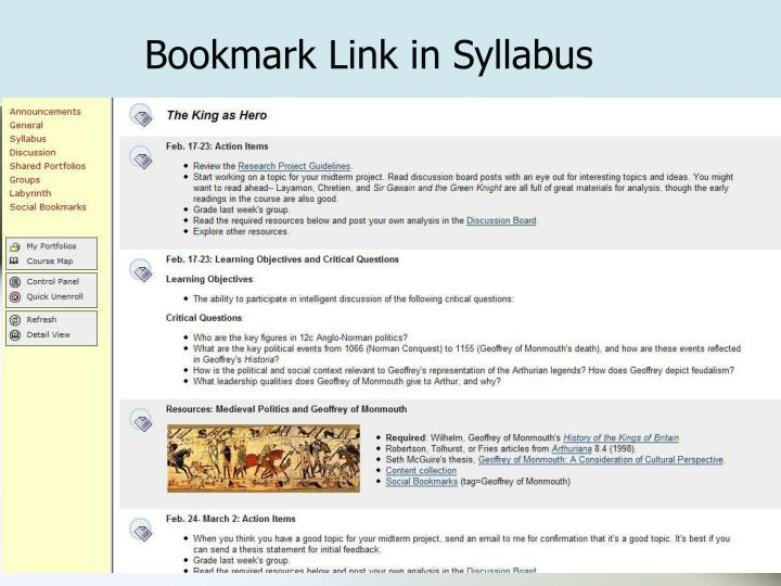 Bookmark Link in Syllabus