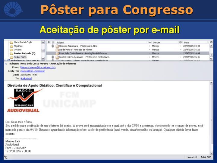 Aceitação de pôster por e-mail