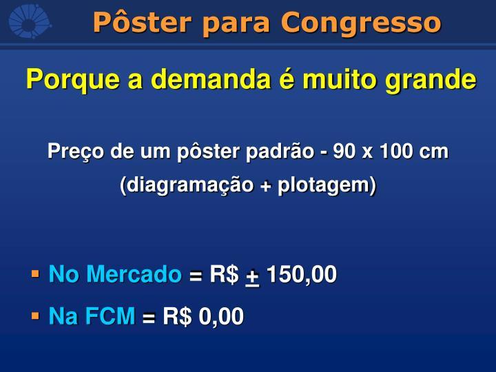 Preço de um pôster padrão - 90 x 100 cm