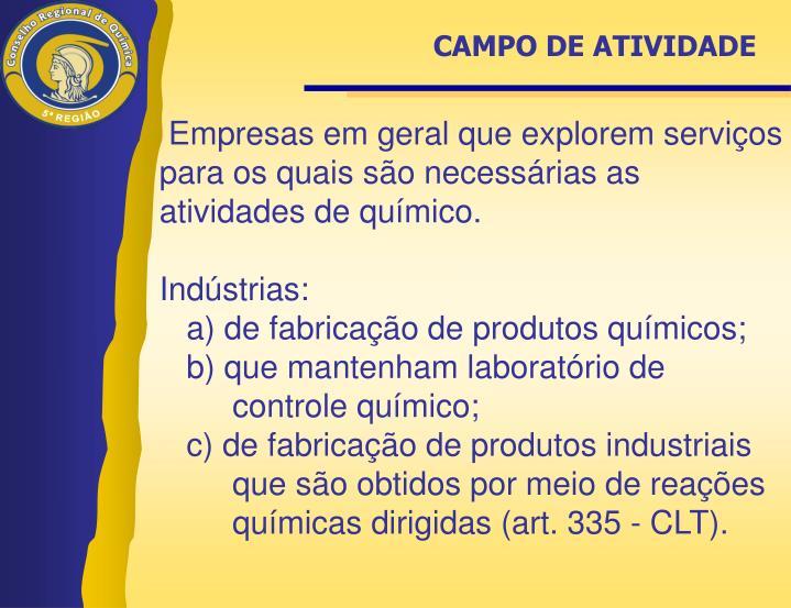 CAMPO DE ATIVIDADE