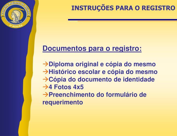 INSTRUÇÕES PARA O REGISTRO