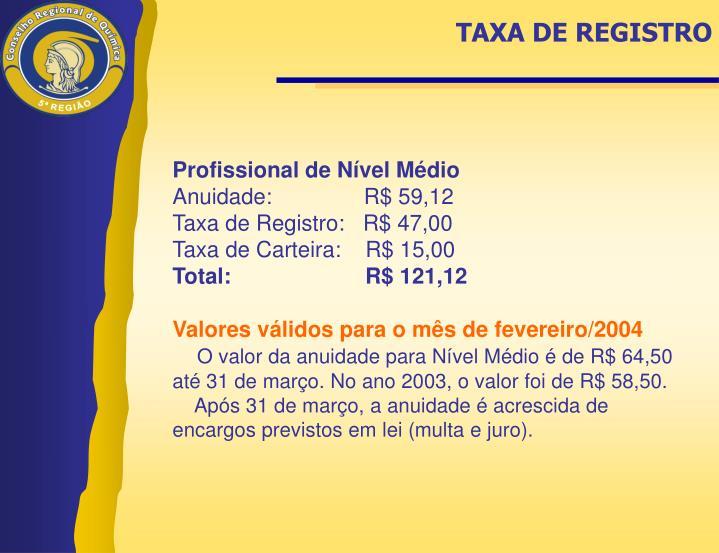 TAXA DE REGISTRO
