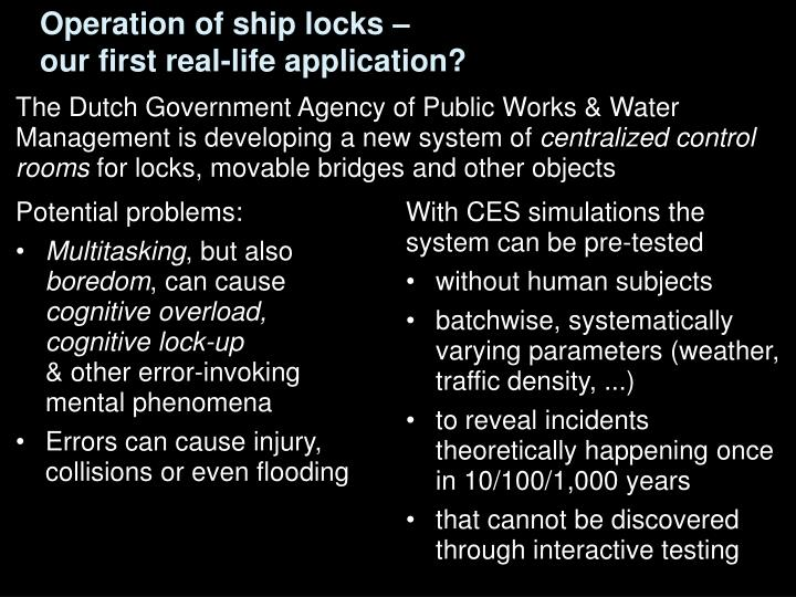 Operation of ship locks –