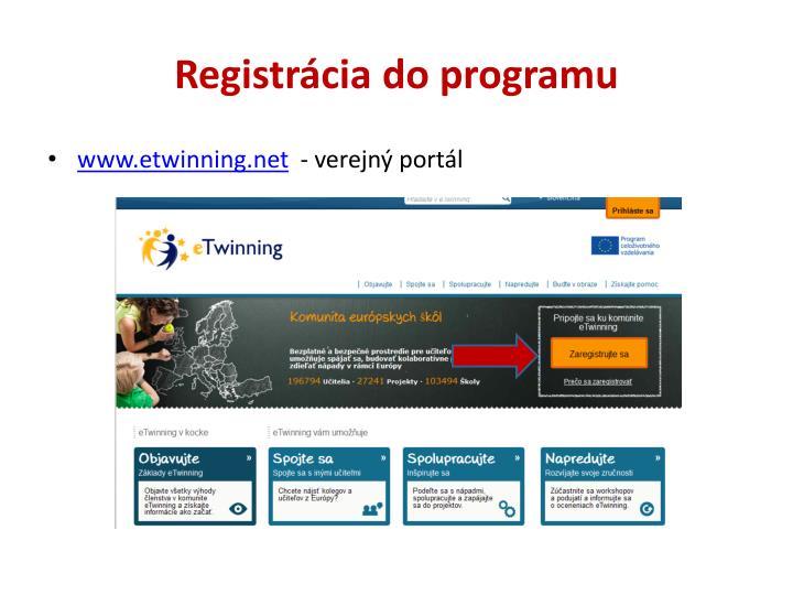Registrácia do programu