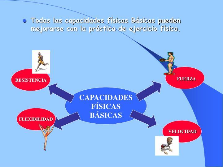 Todas las capacidades físicas Básicas pueden mejorarse con la práctica de ejercicio físico.