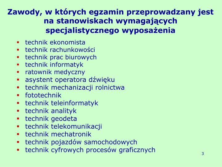 Zawody, w których egzamin przeprowadzany jest na stanowiskach wymagających specjalistycznego wyposażenia