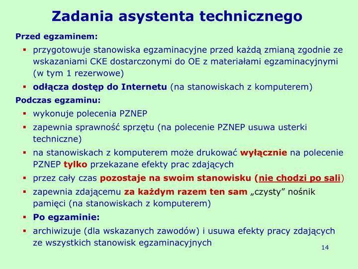Zadania asystenta technicznego
