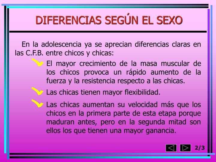 DIFERENCIAS SEGÚN EL SEXO