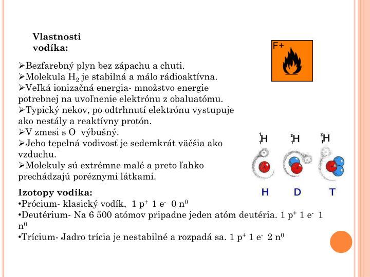Vlastnosti vodíka:
