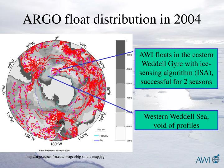 ARGO float distribution in 2004