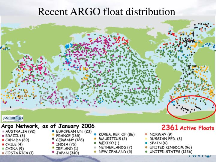 Recent ARGO float distribution