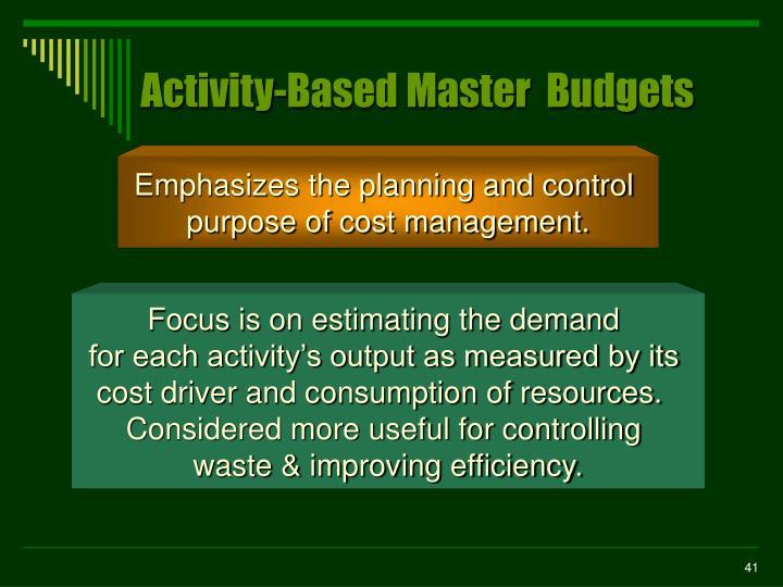 Activity-Based Master  Budgets