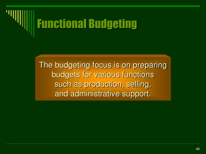 Functional Budgeting
