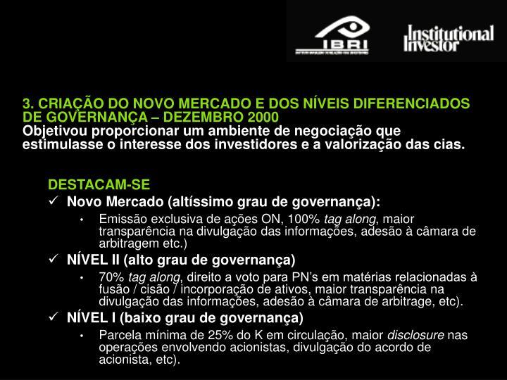 3. CRIAÇÃO DO NOVO MERCADO E DOS NÍVEIS DIFERENCIADOS DE GOVERNANÇA – DEZEMBRO 2000
