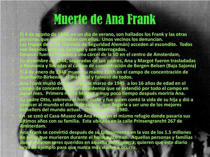 Muerte de Ana Frank