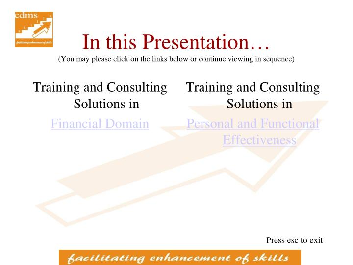 In this presentation you may please click on the links below or continue viewing in sequence