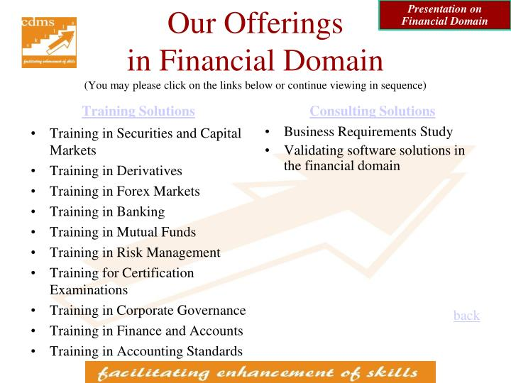 Presentation on Financial Domain