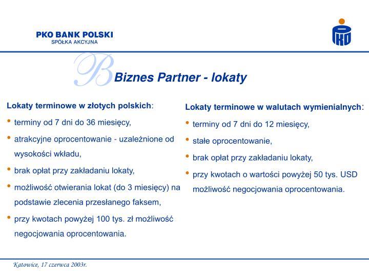 Biznes Partner - lokaty