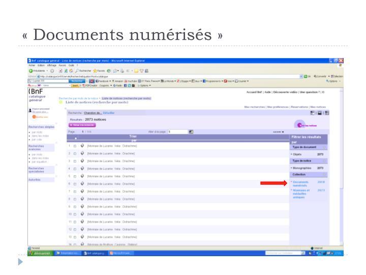 «Documents numérisés»