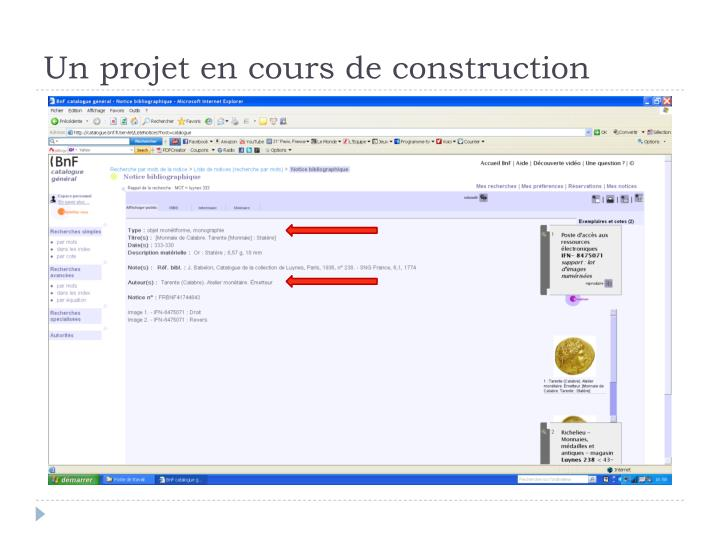 Un projet en cours de construction