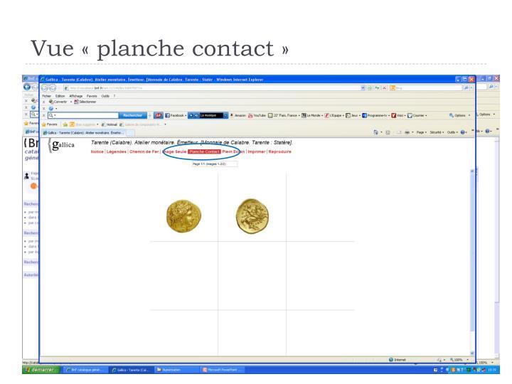 Vue «planche contact»