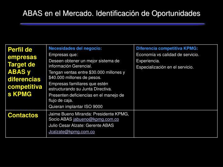 ABAS en el Mercado. Identificación de Oportunidades
