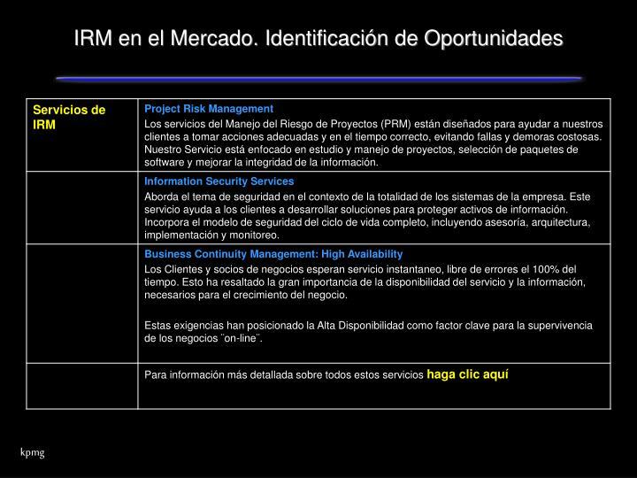 IRM en el Mercado. Identificación de Oportunidades