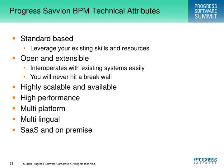 Progress Savvion BPM Technical Attributes