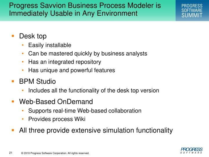 Progress Savvion Business Process Modeler is Immediately Usable in Any Environment