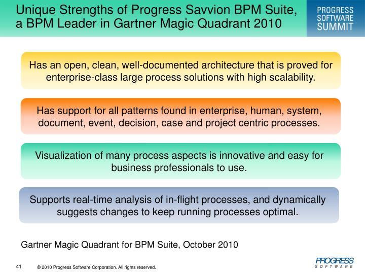 Unique Strengths of Progress Savvion BPM Suite, a BPM Leader in Gartner Magic Quadrant 2010