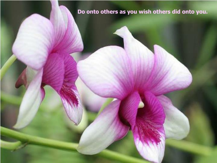Do onto others as you wish others did onto you.