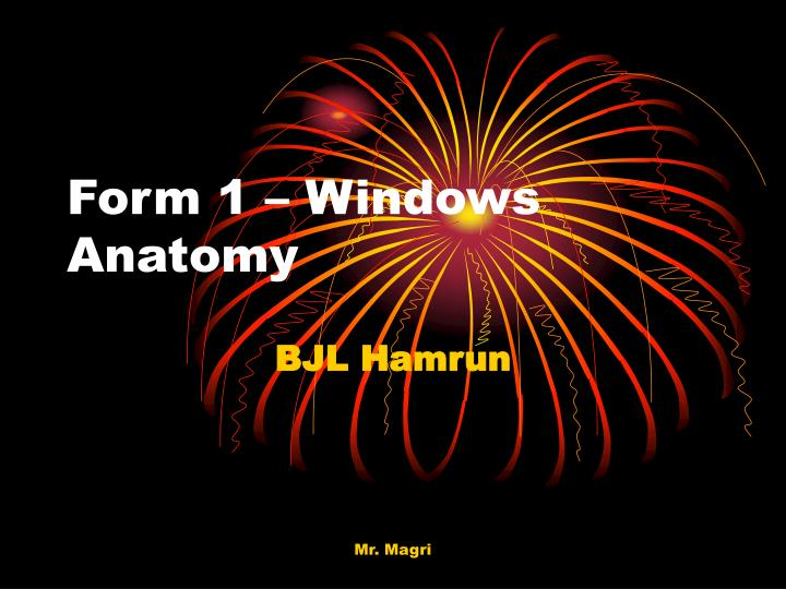 Form 1 windows anatomy