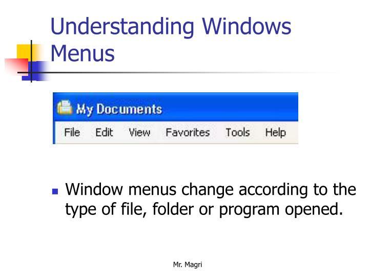 Understanding Windows Menus