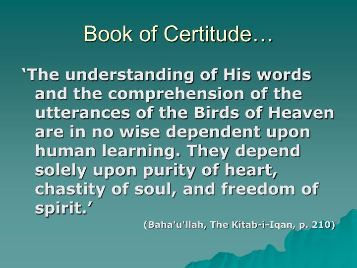 Book of Certitude…