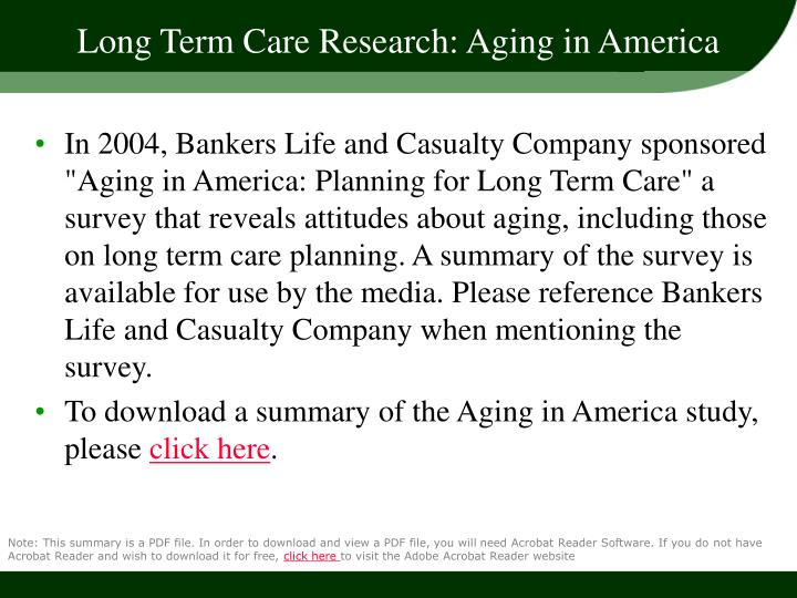 Long Term Care Research: Aging in America