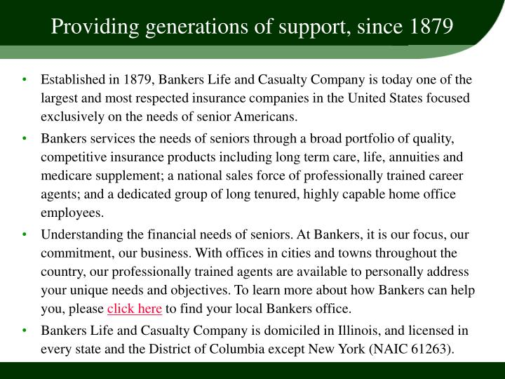 Providing generations of support, since 1879