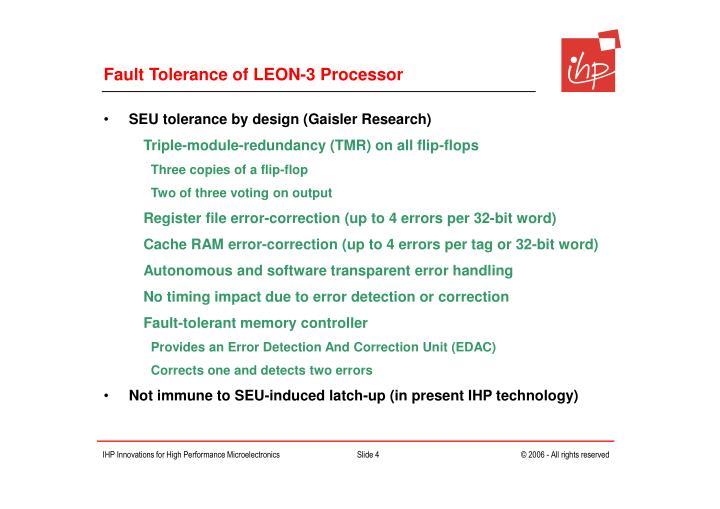Fault Tolerance of LEON-3 Processor