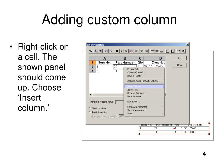 Adding custom column