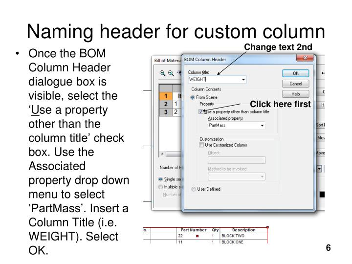 Naming header for custom column