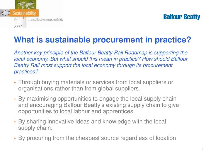 What is sustainable procurement in practice?
