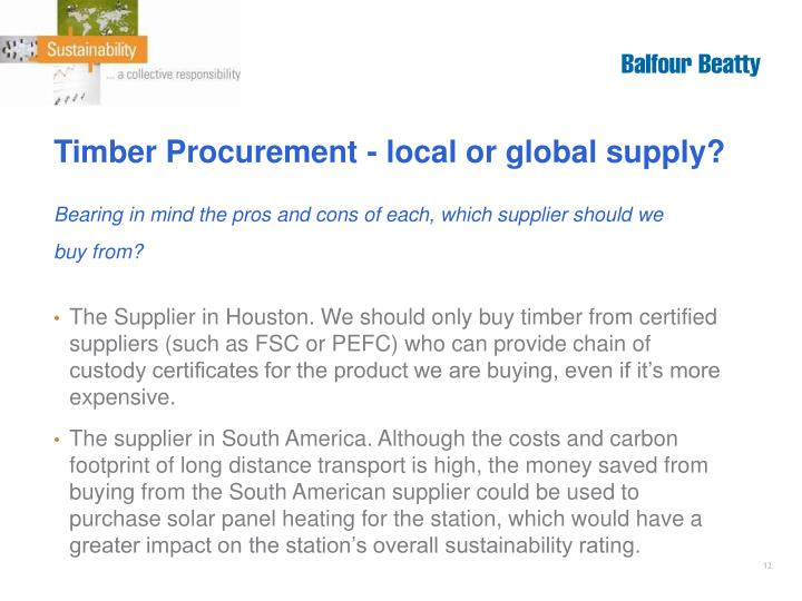 Timber Procurement - local or global supply?