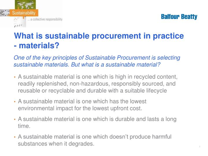 What is sustainable procurement in practice - materials?