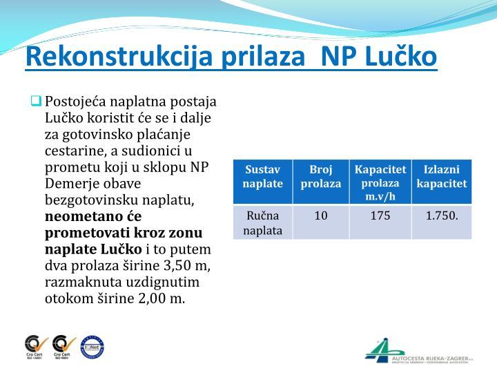 Rekonstrukcija prilaza  NP Lučko
